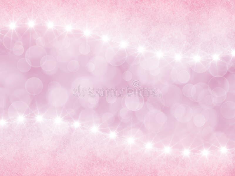 Fond rose abstrait avec le boke et les étoiles illustration de vecteur