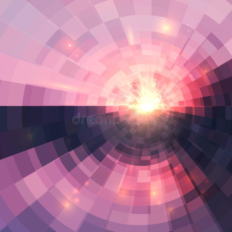 Fond rose abstrait de mosaïque de technologie de cercle illustration stock