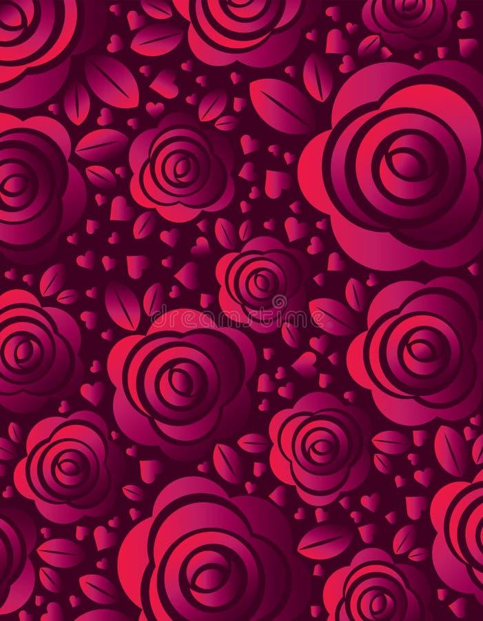 Fond rose avec rose et le coeur, illustration de vecteur Conception de jour de valentines avec des fleurs Peut être employé pour  illustration stock