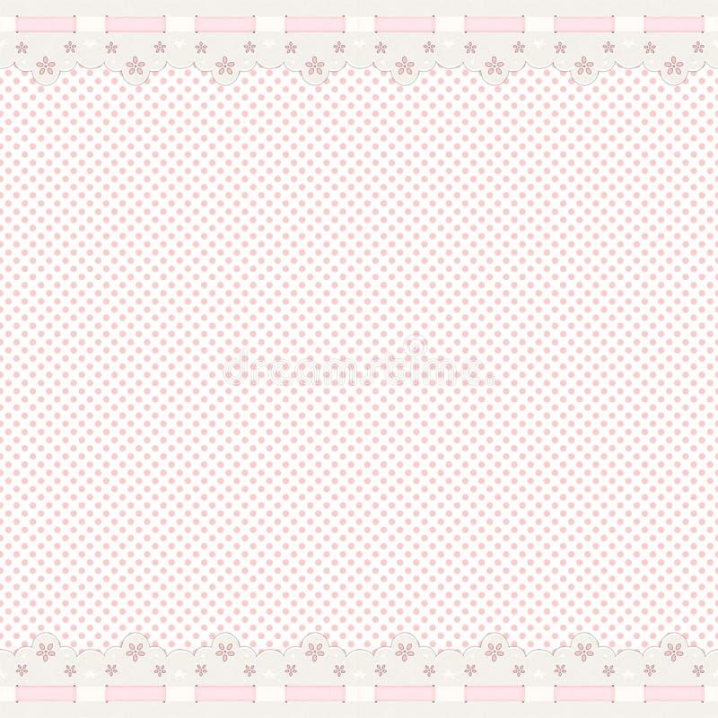 Fond rose avec le cadre de lacet illustration de vecteur