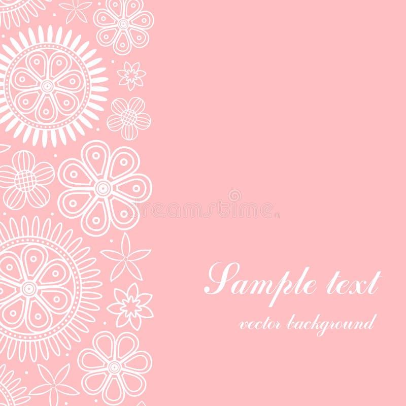 Fond rose avec le cadre floral vertical illustration libre de droits