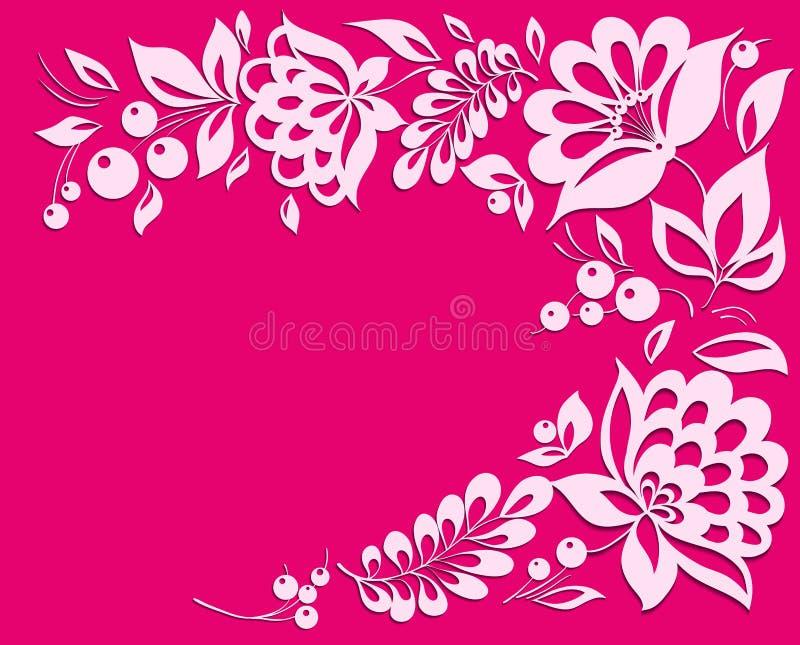 Fond rose avec un cadre floral. illustration libre de droits