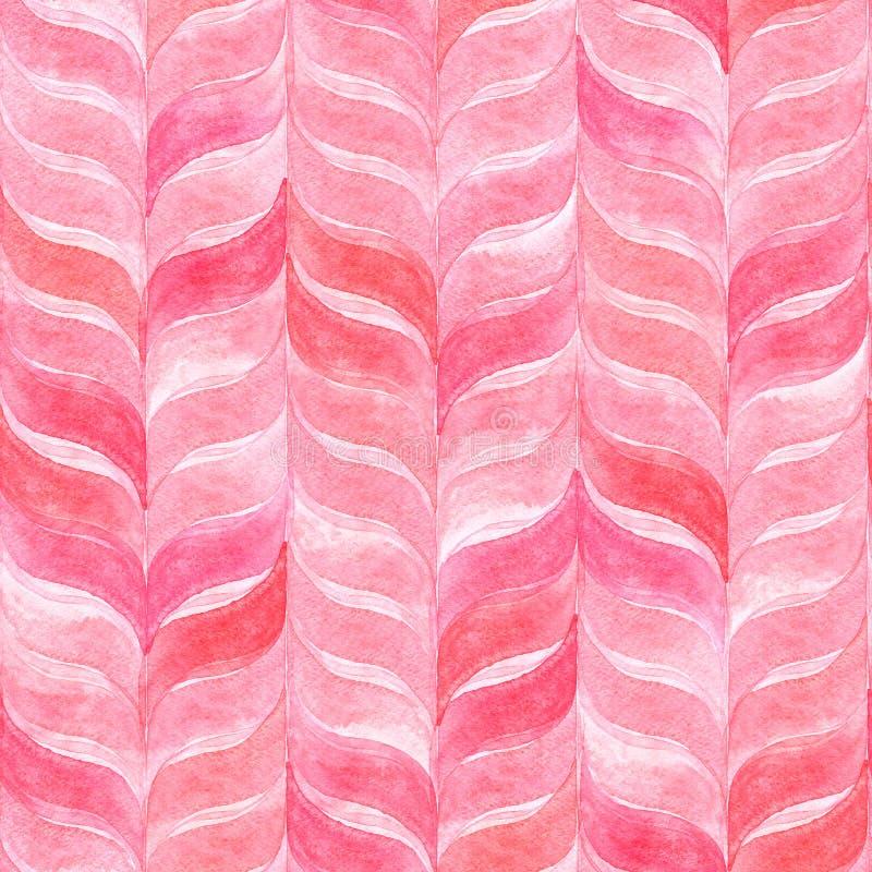 Fond rose-clair d'aquarelle avec les feuilles onduleuses incurvées configuration sans joint géométrique photos stock