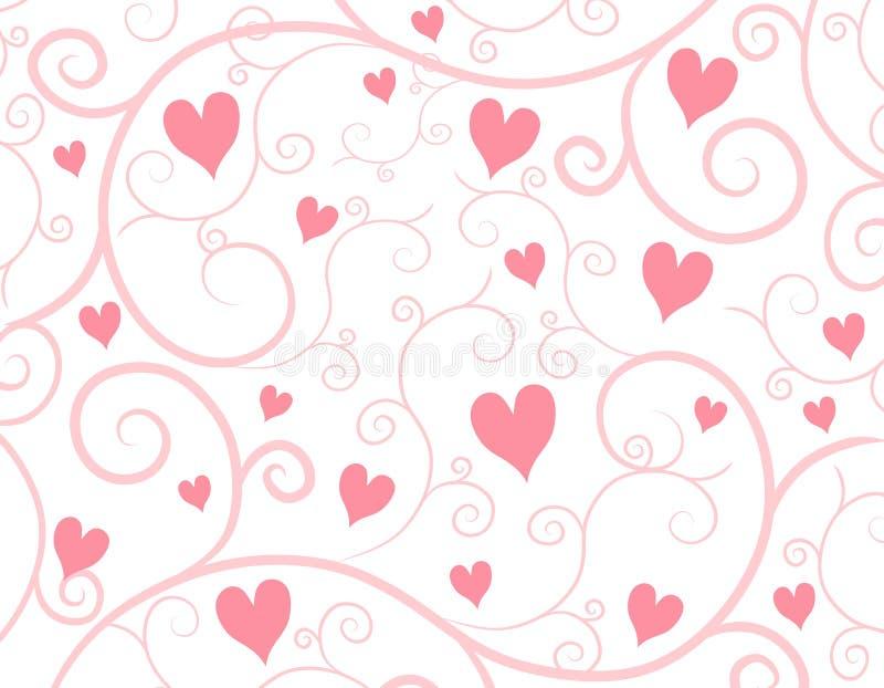 Fond rose-clair de vigne de coeurs illustration libre de droits