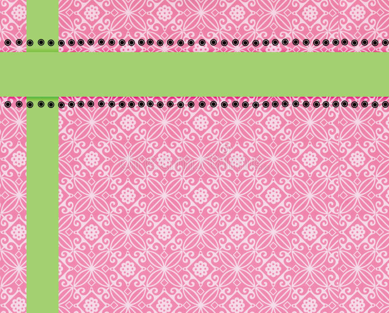 Fond rose d'impression de Paisley garni en limette illustration stock