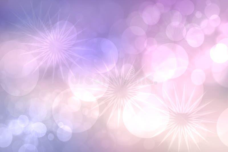 Fond rose d'invitation de partie Texture rose-clair sensible de bokeh de résumé avec trois grandes étoiles Beau contexte pour la  photos stock