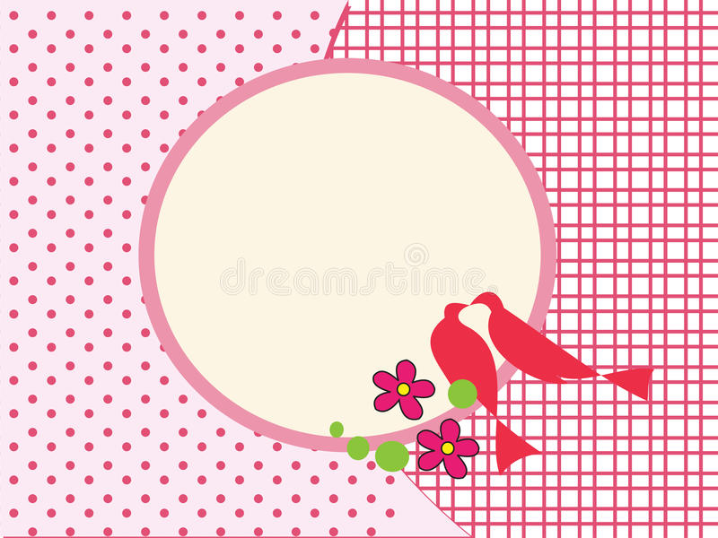 Fond rose de cadre d'oiseaux d'amour illustration stock