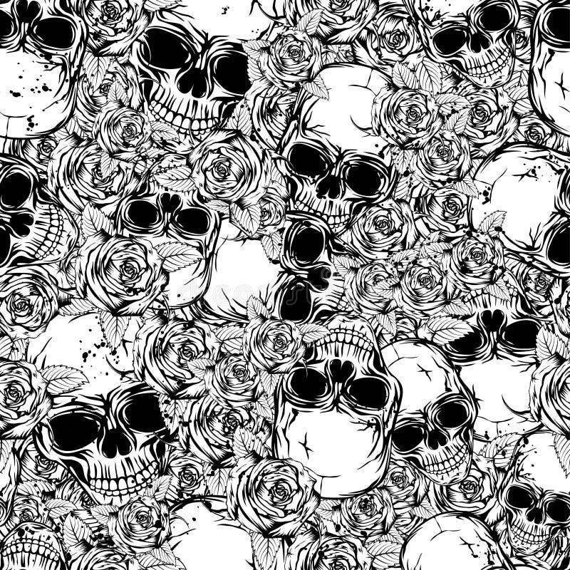 Fond rose de crâne illustration de vecteur