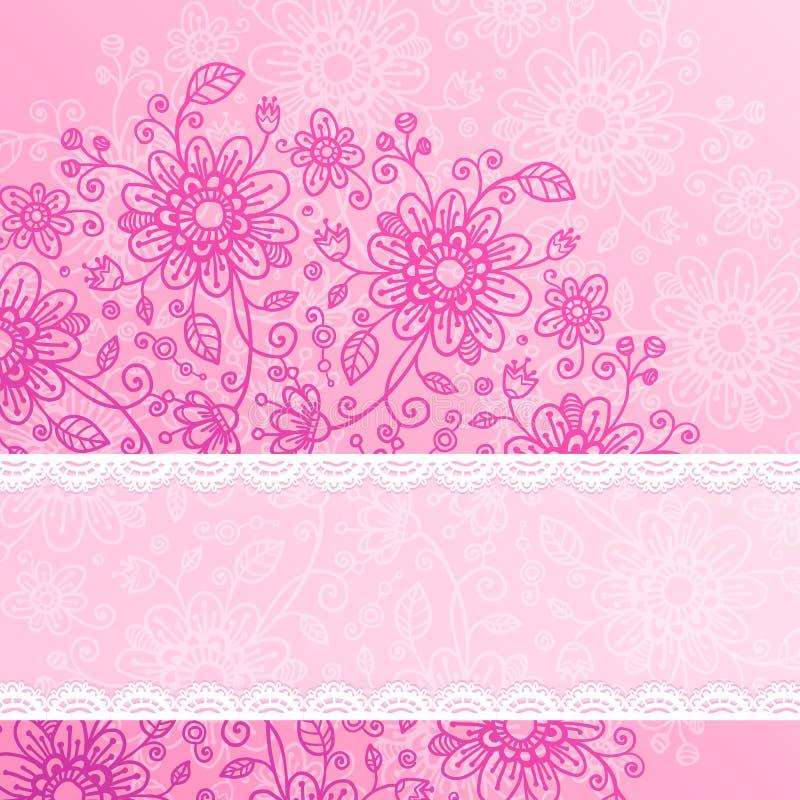 Fond rose de fleurs de cru avec la bande de dentelle illustration stock