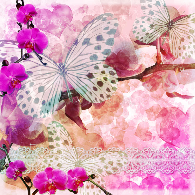 Fond rose de fleurs de papillons et d'orchidées (1 de l'ensemble) illustration stock