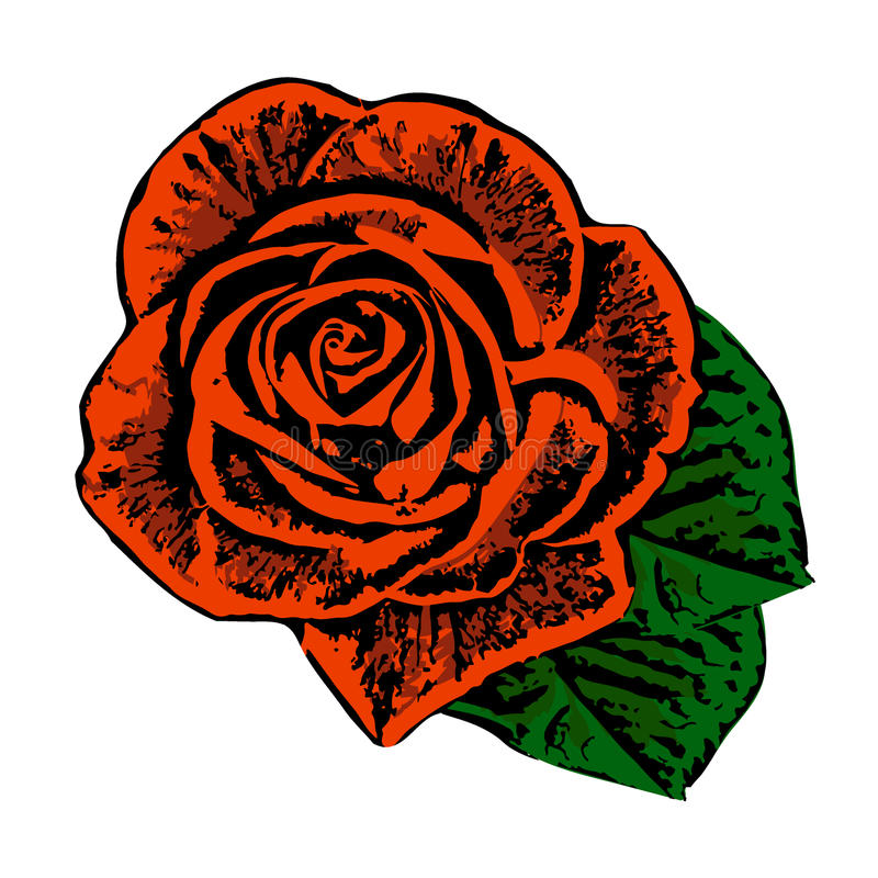 Fond rose de grunge rouge et noir avec les pétales verts illustration stock