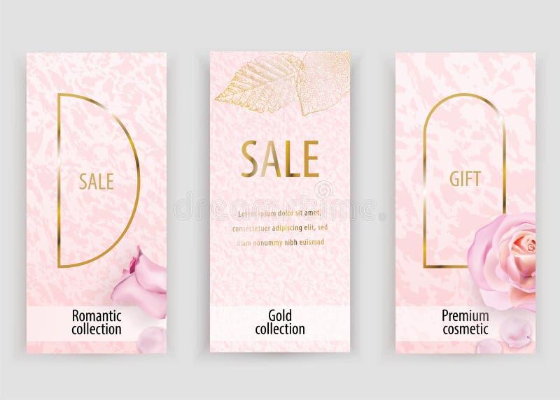 Fond rose de marbre de vecteur d'or pour épouser, cosmétique, le 8 mars, magasins de parfume illustration libre de droits