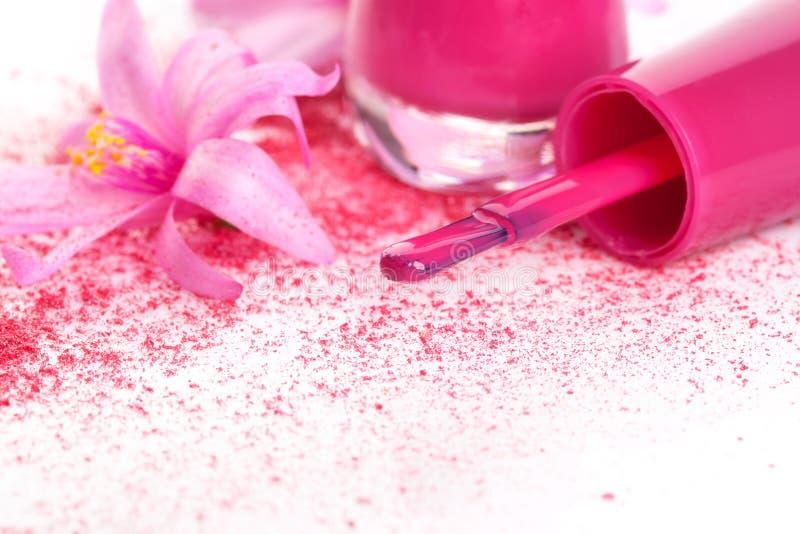 Fond rose de vernis à ongles. photos libres de droits