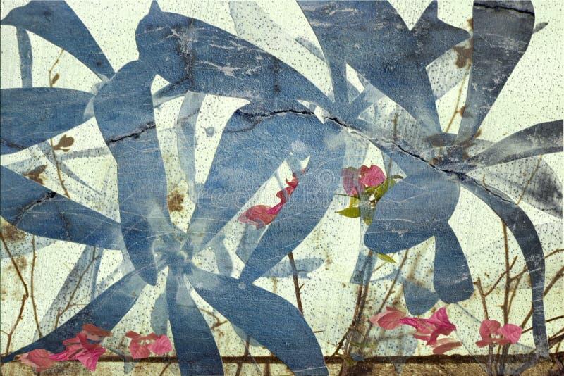 Fond rose et bleu d'abrégé sur bouganvillée illustration de vecteur