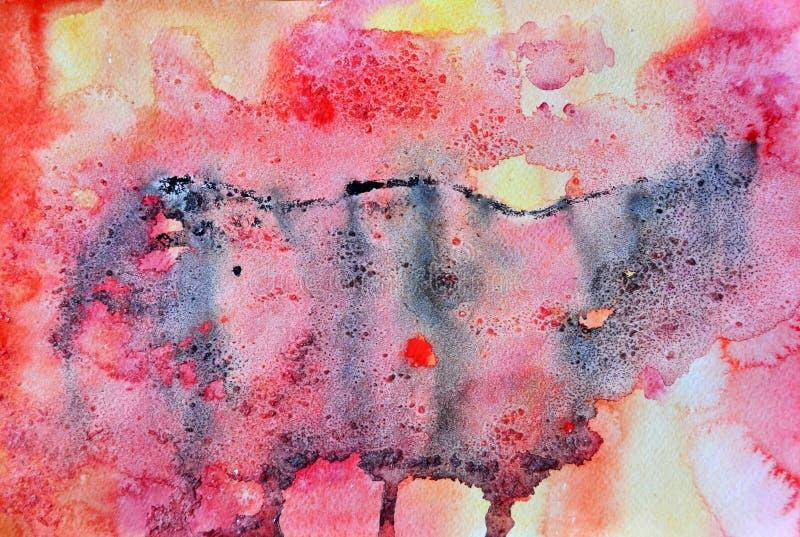 Fond rose et noir abstrait d'aquarelle image libre de droits