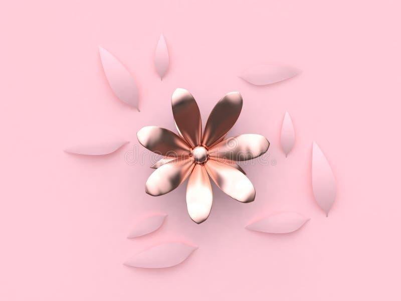 fond rose minimal 3d de métallique-rose de fleur rose abstraite d'or rendre illustration stock