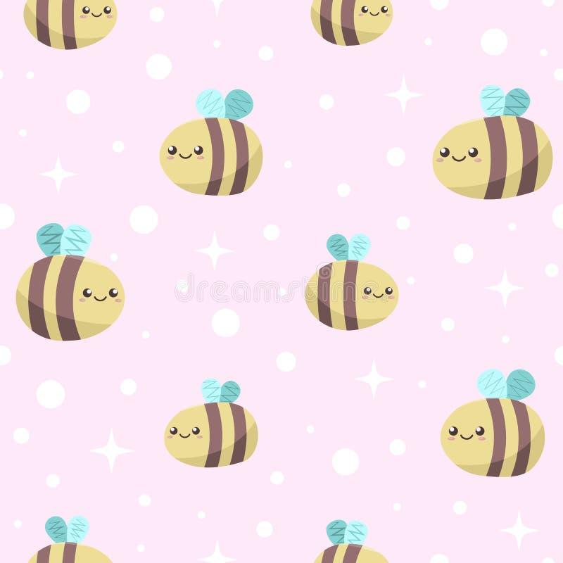 Fond rose sans couture avec les abeilles de sourire drôles mignonnes de miel illustration libre de droits