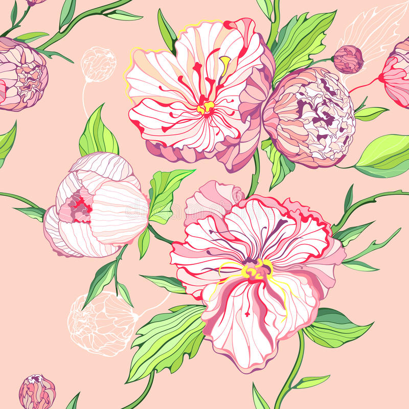 Fond rose sans joint avec des fleurs de pivoine illustration de vecteur