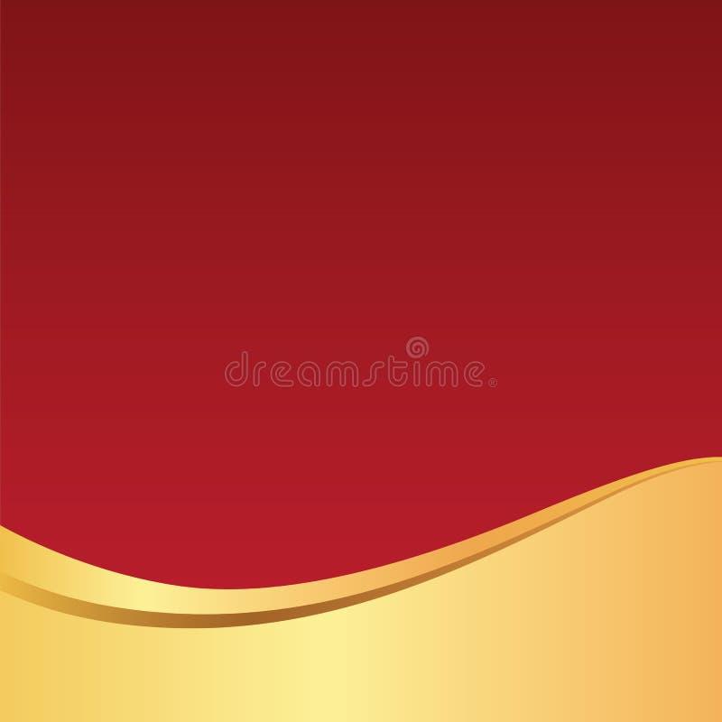 Or/fond rouge élégant/modèle vague d'or pour la carte, l'affiche, le site Web ou l'invitation image stock