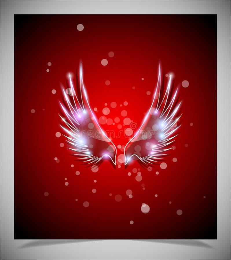 Fond rouge abstrait avec les ailes en verre. illustration de vecteur