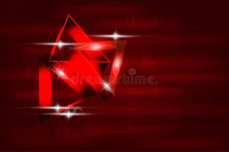 Fond rouge abstrait moderne dans le style de techno illustration stock