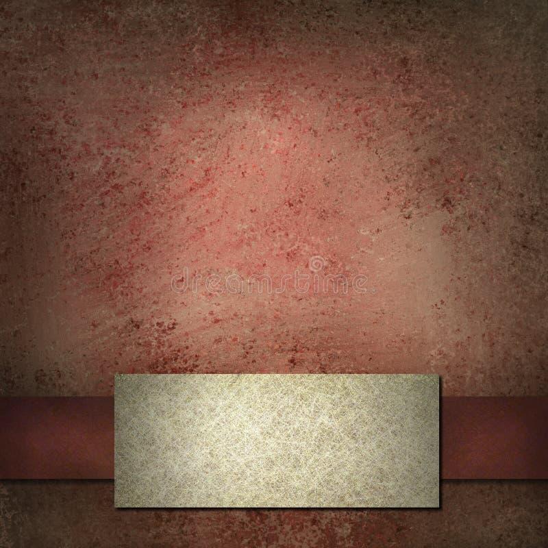 Fond rouge avec la bande et l'étiquette de blanc illustration de vecteur