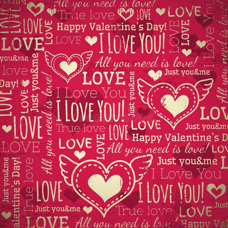 Fond rouge avec le coeur de valentine et le te de souhaits illustration libre de droits