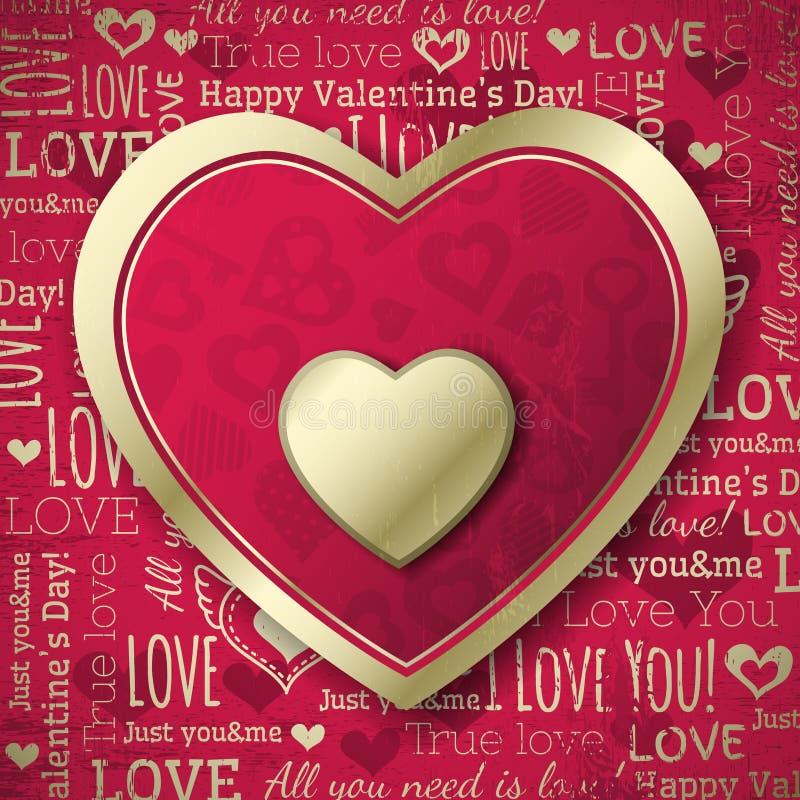 Fond rouge avec le coeur de valentine et le te de souhaits illustration de vecteur