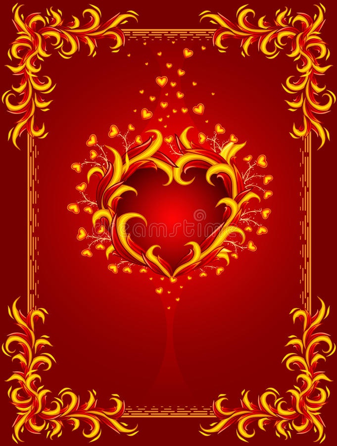 Fond rouge avec le coeur et la trame brûlants illustration libre de droits