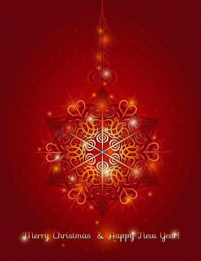 Fond rouge avec le flocon de neige, vecteur illustration de vecteur