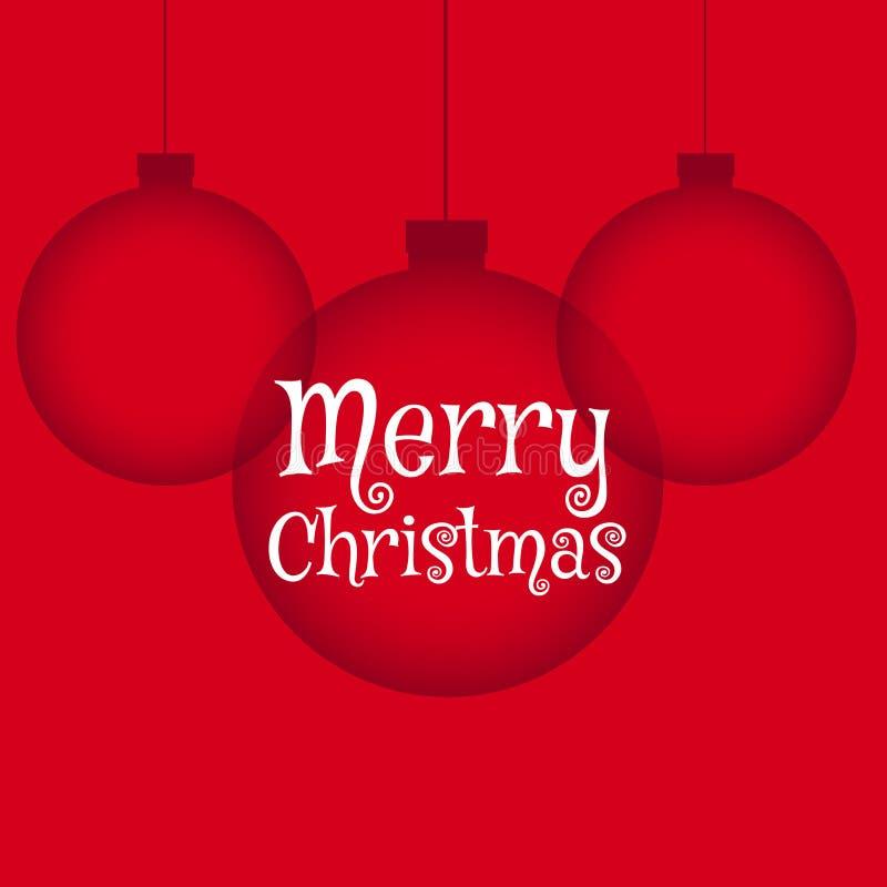 Fond rouge avec les boules accrochantes de Noël dans le style propre illustration stock