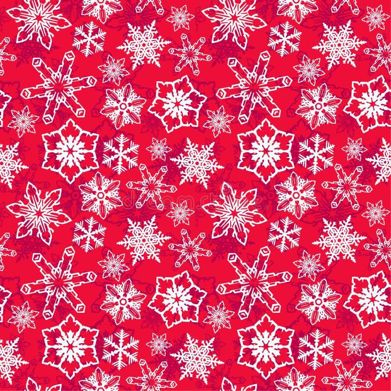 Fond rouge avec les flocons de neige blancs image stock