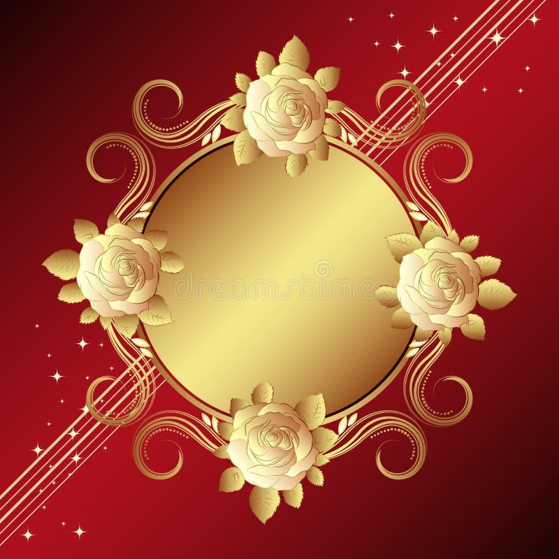 Fond rouge avec les roses d'or illustration de vecteur