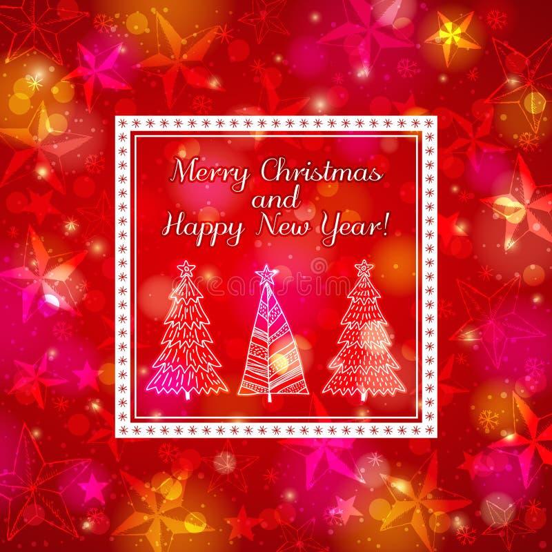 Fond rouge d'éclat avec la forêt de Noël illustration de vecteur
