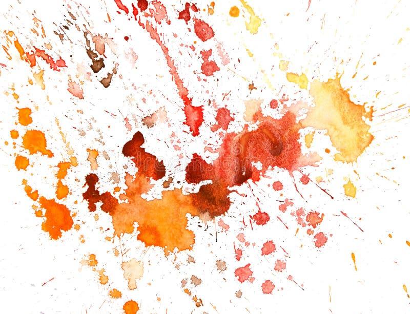 Fond rouge d'art d'aquarelle souillé par grunge d'éclaboussure illustration libre de droits