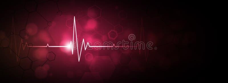 Fond rouge de battement de coeur illustration de vecteur