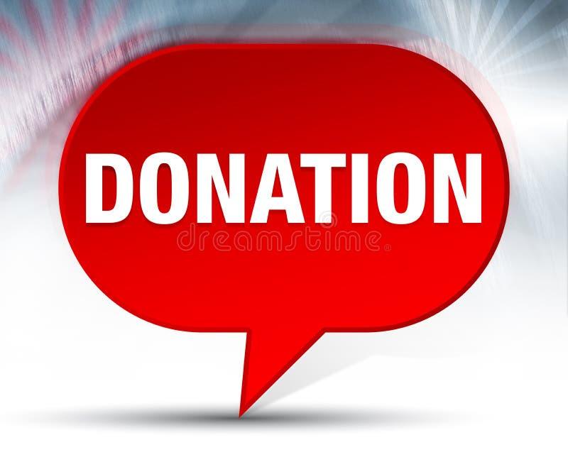 Fond rouge de bulle de donation illustration de vecteur