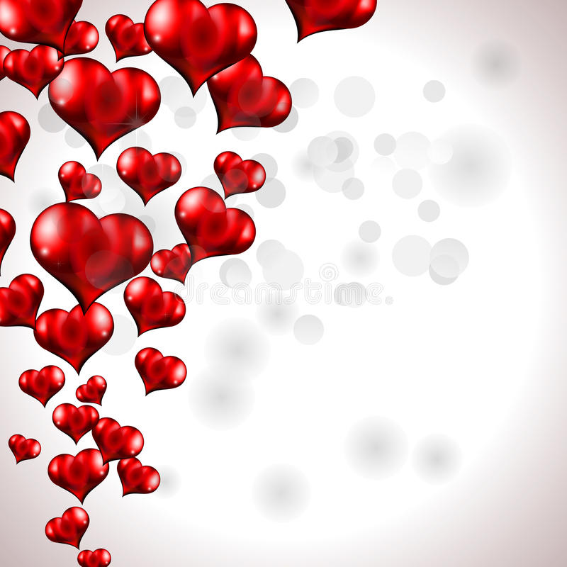 Fond rouge de coeur de vol illustration libre de droits