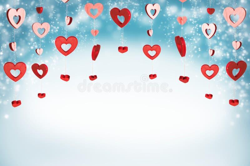 Fond rouge de coeurs illustration stock