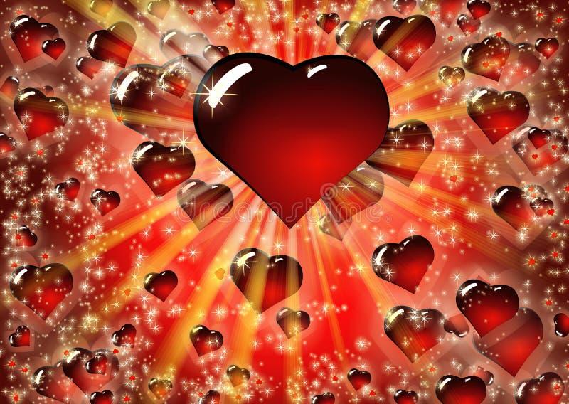 Fond rouge de coeurs de Valentine illustration libre de droits