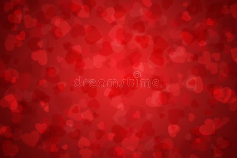 Fond rouge de gradient de Saint-Valentin avec des coeurs illustration libre de droits