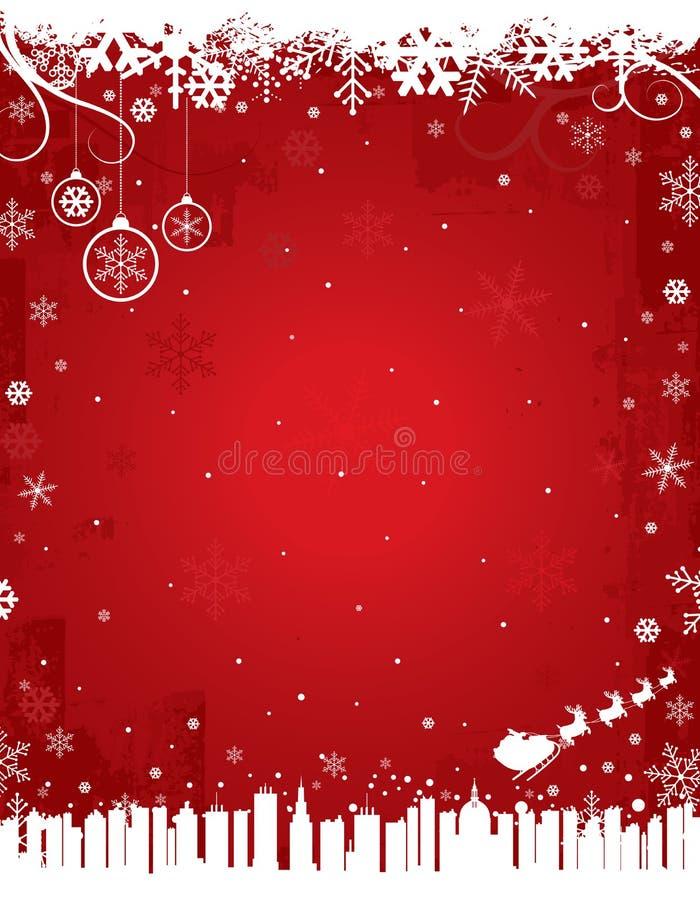 Fond rouge de l'hiver illustration stock