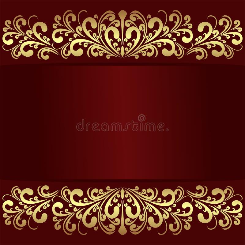 Fond rouge de luxe avec les frontières royales d'or illustration de vecteur