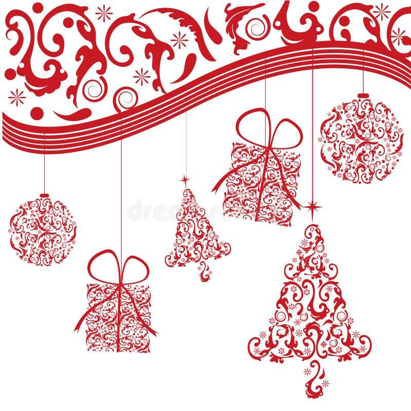Fond rouge de Noël illustration stock