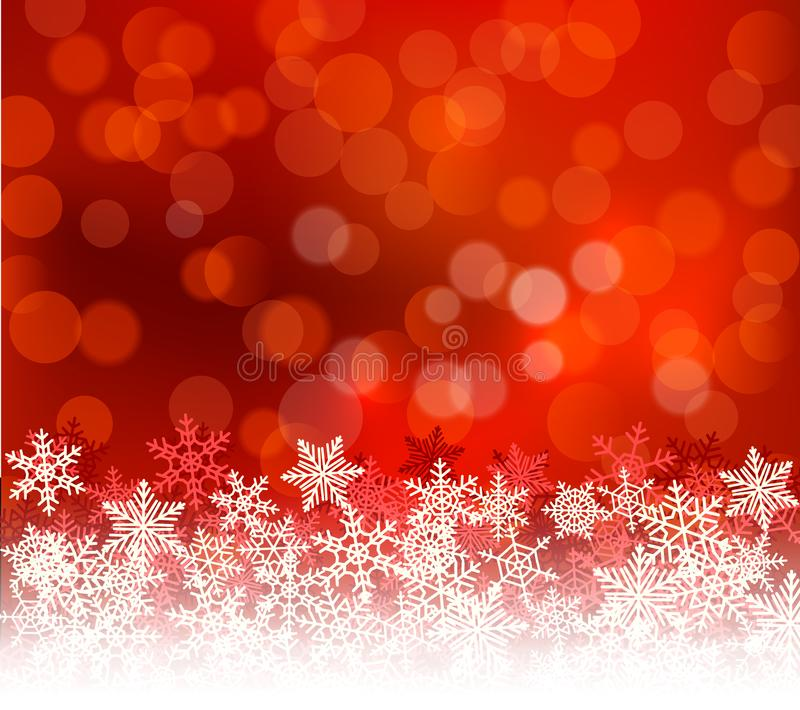 Fond rouge de Noël de bokeh d'hiver avec des flocons de neige Décoration de vacances de bokeh de Noël pour la carte de voeux illustration stock