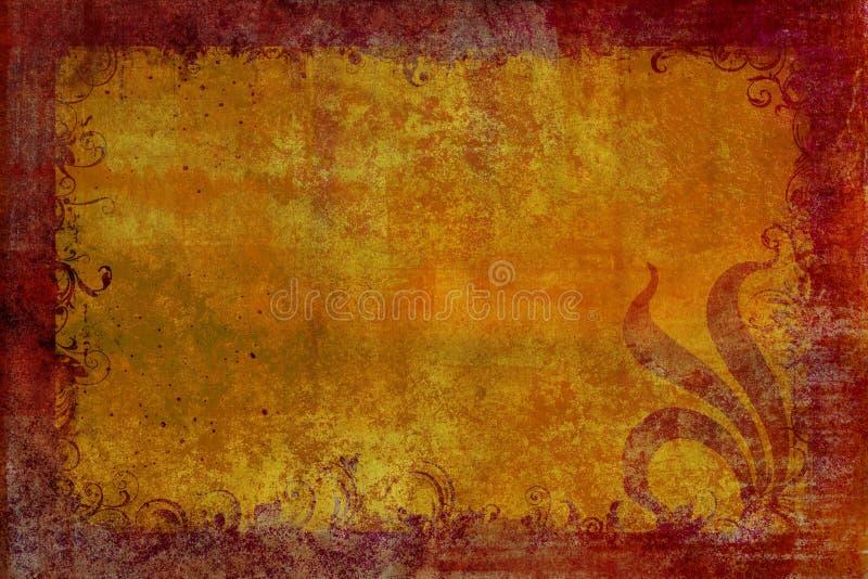 Fond rouge de rouille avec la lame d'or illustration de vecteur
