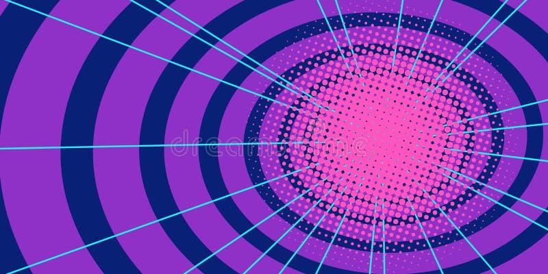 Fond rouge de tunnel de cercles illustration stock