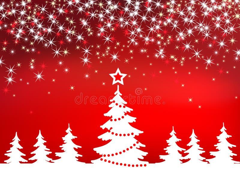 Fond rouge de vecteur d'étincelle de Noël avec l'arbre