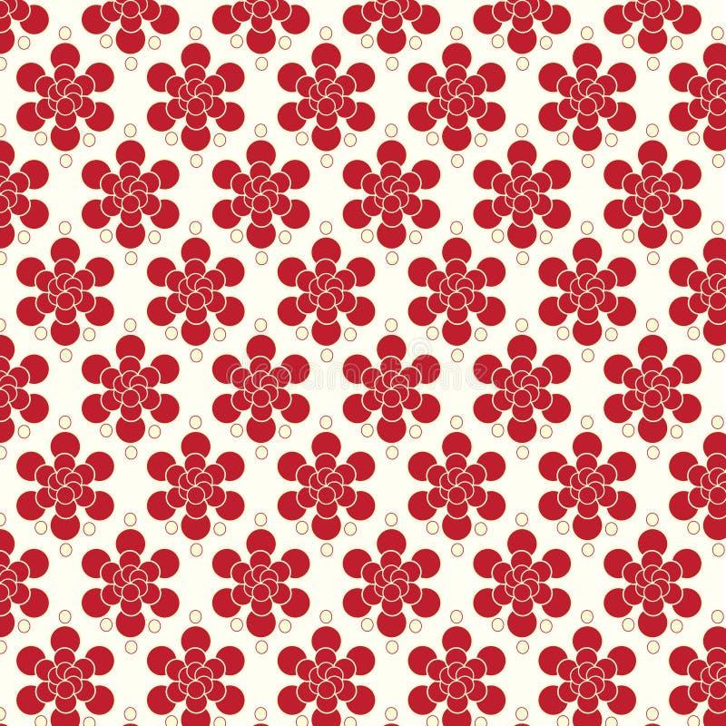 Fond rouge de vecteur de modèle de fleurs illustration libre de droits