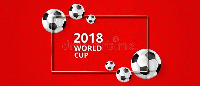 Fond rouge du football avec des ballons de football et l'ornement symbolique illustration stock